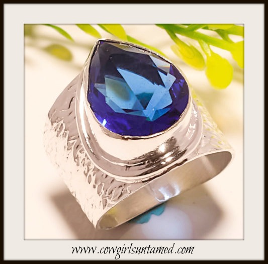 COWGIRL STYLE RING Blue Sapphire Sterling Silver Wide Ring