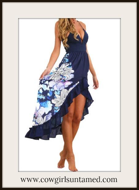 WILDFLOWER DRESS Blue Floral High Low Sleeveless Ruffle Dress