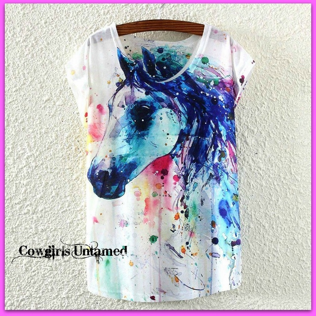 COWGIRL STYLE TEE Blue Aqua Horse Head on White Scoop Neck Short Sleeve Tee