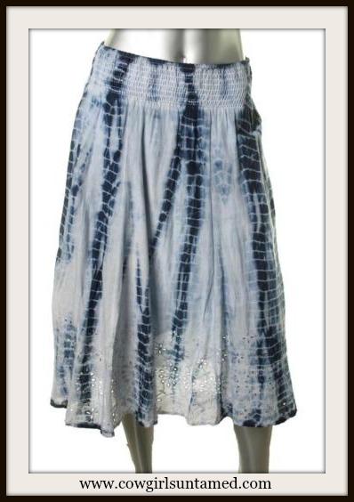 COWGIRL GYPSY SKIRT Blue and White Tie Dye Eyelet Lace Designer Boho Skirt