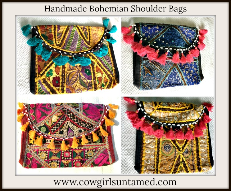 BOHEMIAN COWGIRL SHOULDER BAG Handmade Fabric Patchwork Bohemian Shoulder Bag