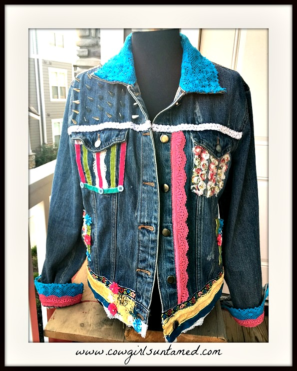 BOHEMIAN COWGIRL JACKET Embellished Lace Beaded & Velvet Ribbon Cross Back Distressed Silver Spiked Jean Jacket