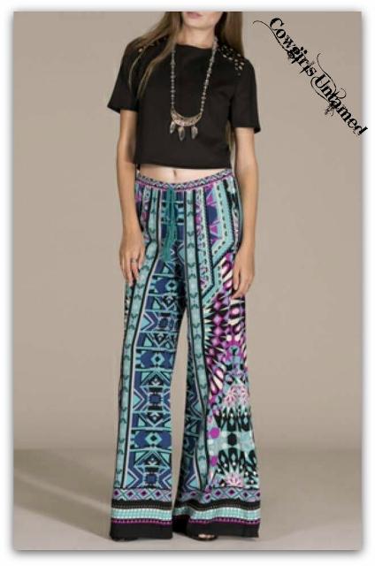 Cowgirl Gypsy Pants Turquoise Aqua Black Blue Aztec Boho
