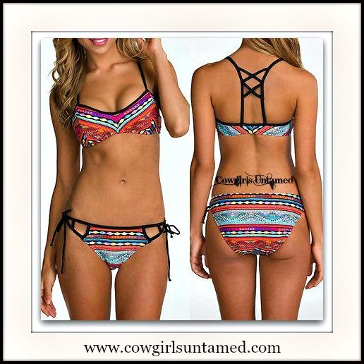 WILDFLOWER BIKINI Tribal Pattern Strappy Back Boho 2piece Bikini