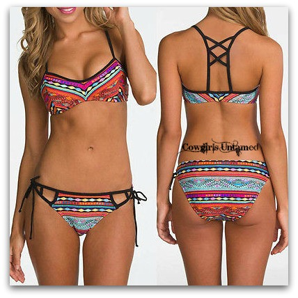 WILD FLOWER BIKINI Tribal Pattern Strappy Back Boho 2piece Bikini
