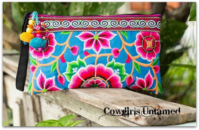 WILDFLOWER PURSE Hot Pink Blue Green Orange Floral Embroidered Boho Gypsy Clutch