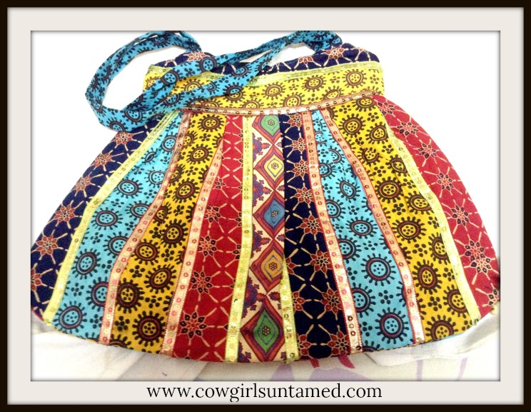 BOHEMIAN COWGIRL BAG Mixed Pattern Multi Color Boho Shoulder Bag