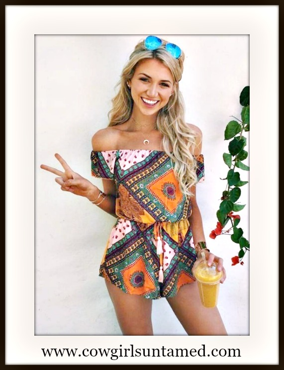 WILDFLOWER ROMPER Multi Color Off the Shoulder Boho Romper Shorts