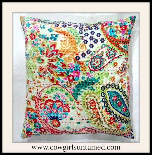 COWGIRL GYPSY HOME Multi Color Paisley Floral Quilt Throw Pillow Case