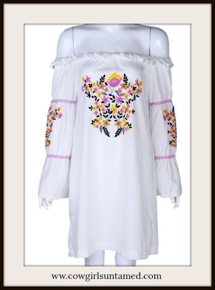 BOHEMIAN COWGIRL DRESS Multi Color Boho Floral Print Off the Shoulder White Mini Dress
