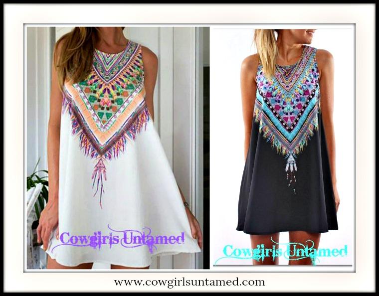 WILDFLOWER DRESS Feather Image Neckline on A-Line Black or White Sleeveless Mini Dress/Tunic Top