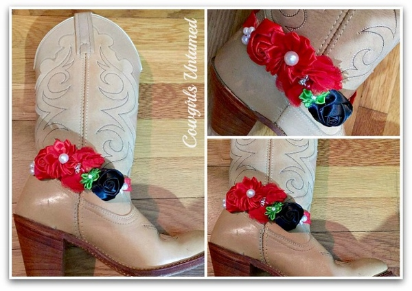 WILDFLOWER BOOT JEWELRY Silk Red & Black Flowers With Ribbon And Pearls & Crystals and Antique Silver Horse Charm Boot Cuff