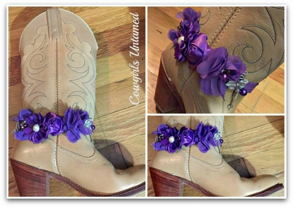 WILDFLOWER BOOT GARTER  Purple Silk Rose and Ribbon with Pearls & Crystals and Antique Silver Horse Charm Boot Cuff