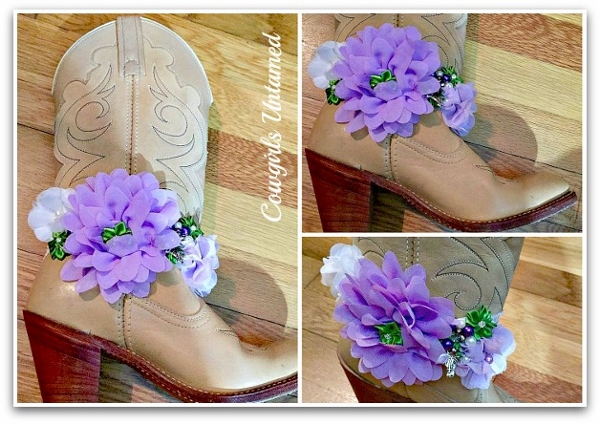 WILDFLOWER BOOT JEWELRY Lilac Purple Flower and Ribbon with Pearls & Crystals and Antique Silver Horse Charm Boot Cuff