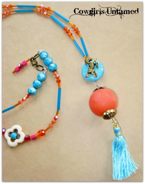 WILDFLOWER NECKLACE Aqua Tassel Coral N Antique Bronze Turquoise Pendant on Hot Pink Red Orange Beaded Boho Necklace