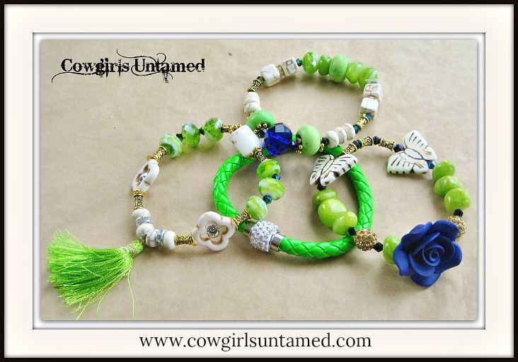 COWGIRL GYPSY BRACELET SET of 4 Lime Green & Ivory Turquoise Butterfly Blue Crystal Antique Gold Beaded Bracelet Set