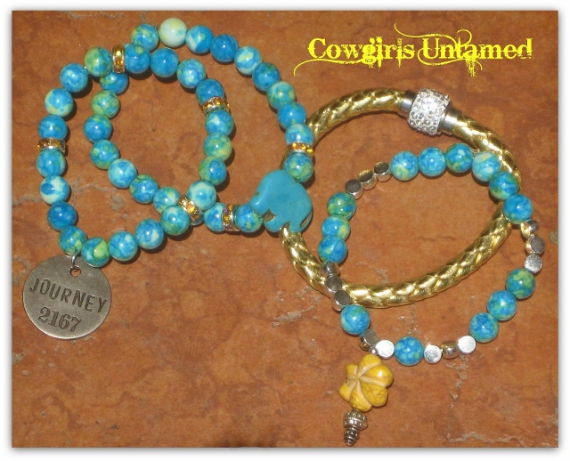 "COWGIRL GYPSY BRACELET SET of 4 Silver ""Journey"" Yellow Flower & Elephant on Turquoise Beaded and Leather Charm Bracelet Set"