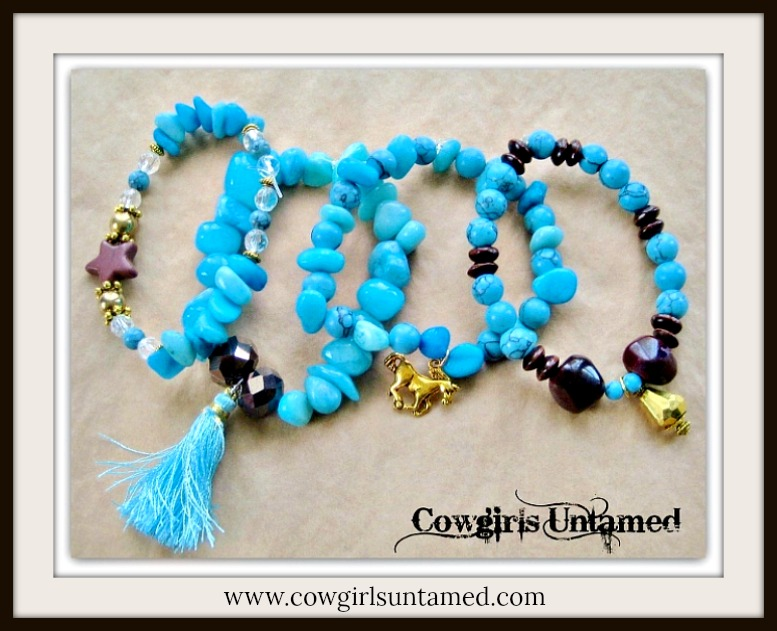 COWGIRL GYPSY BRACELET SET of 4 Aqua and Blue Turquoise & Brown Beaded Horse Charm Bracelet