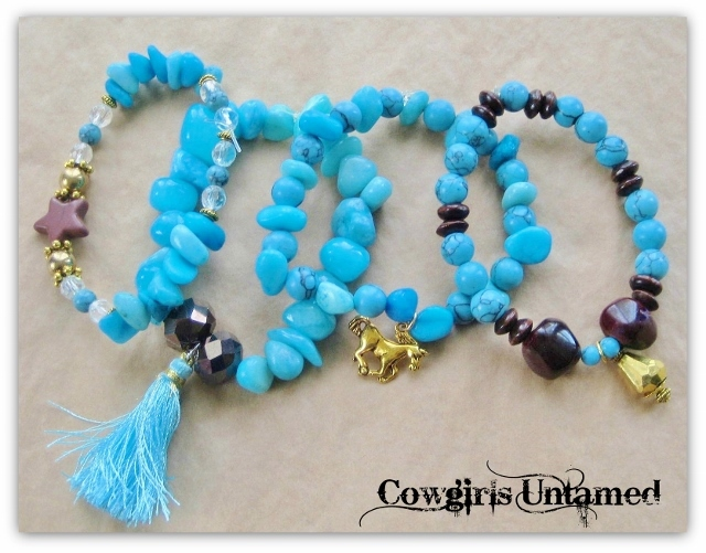 COWGIRL GYPSY BRACELET SET of 4 Aqua and Blue Turquoise & Brown Star Crystal Beaded Bracelet with Silk Tassel &  Antique Gold Horse and Crystal Charms