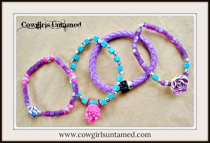 COWGIRL GYPSY BRACELET SET of 4 Purple Turquoise Black & Pink Flower Beaded Charm Bracelet Set