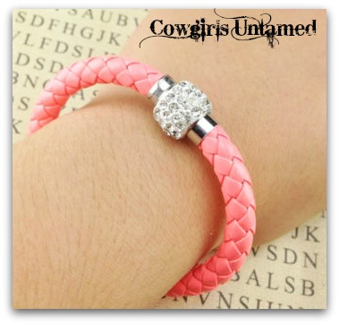 COWGIRL STYLE BRACELET Neon Peachy Orange Braided Leather Clear Rhinestone Magnetic Closure Bracelet