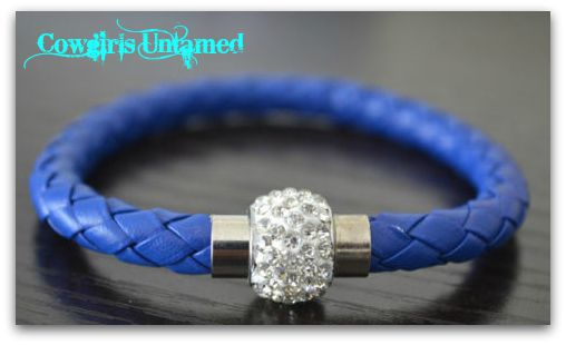 COWGIRL STYLE BRACELET Blue Braided Leather Clear Rhinestone Silver Magnetic Closure Bracelet