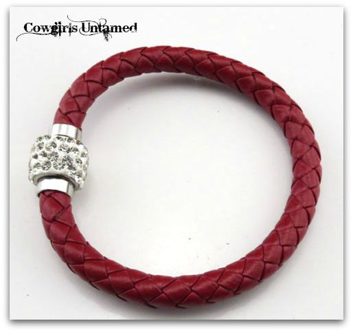COWGIRL STYLE BRACELET Burgundy Braided Leather with Clear Rhinestone Magnetic Closure