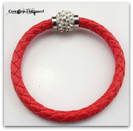 COWGIRL STYLE BRACELET Red Braided Leather Clear Rhinestone Silver Magnetic Closure Bracelet