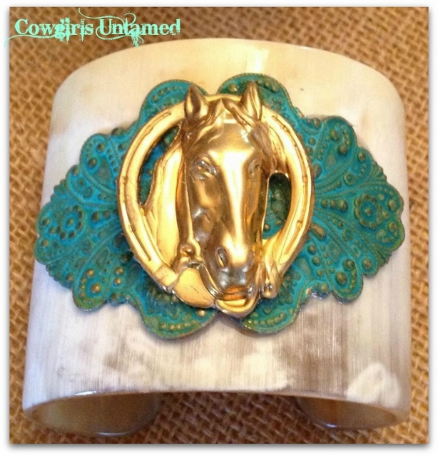 HORSE LOVIN' COWGIRL BRACELET Brass Horse in Horseshoe & Vintage Style Verdigris Metal on Buffalo Horn Western Cuff Bracelet ARTISAN MADE