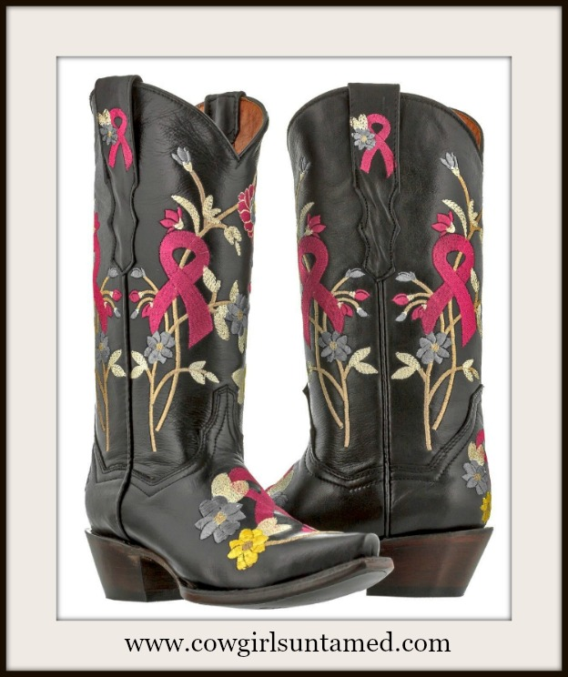 COWGIRL STYLE BOOTS Embroidered Flowers Breast Cancer Awareness Ribbon Leather Cowgirl Boots