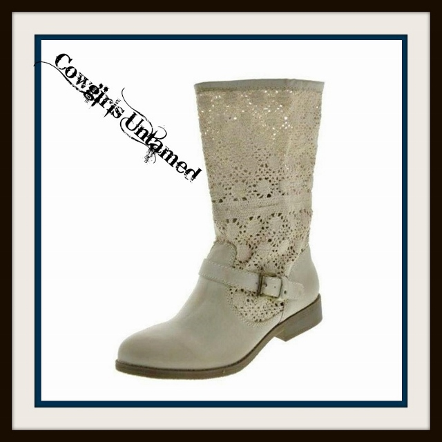 COWGIRL GYPSY BOOTS Bronze Buckle Strap on Cream Leather N' Lace Designer Western Boots