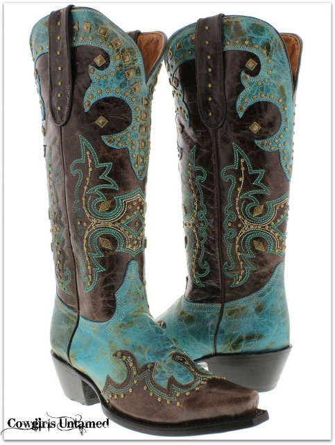 COWGIRL STYLE BOOTS Bronze Studded and Embroidered Brown Aqua Rodeo Western Cowgirl Boots