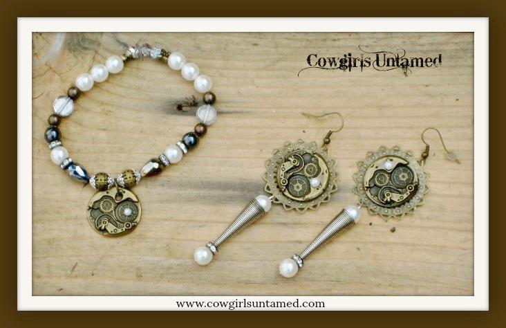 COWGIRL JUNK GYPSY BRACELET SET Antique Bronze Pearls and Silver Clockworks Bracelet & Earring Set