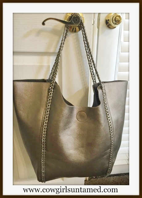 COWGIRL GLAM TOTE Large Bronze Leather Tote with Gunmetal Chain Braided Leather Detail