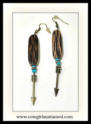 GYPSY SOUL EARRINGS Turquoise & Rhinestone Antique Bronze Arrow Boho Earrings