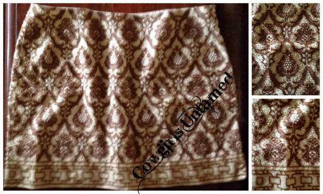 COWGIRL GYPSY SKIRT Beaded Brown and Cream Damask Mini Skirt