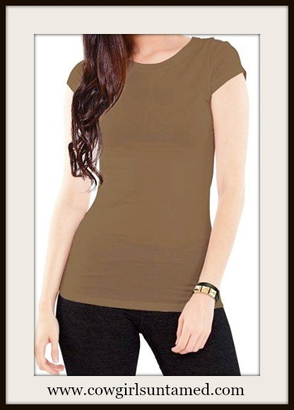 COWGIRL STYLE TOP Cap Sleeve Round Neck Tee