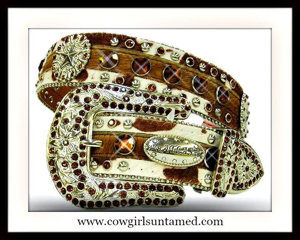WESTERN COWGIRL BELT Brown Cowprint Silver Star Concho Brown Crystal & Silver Studded Western Belt