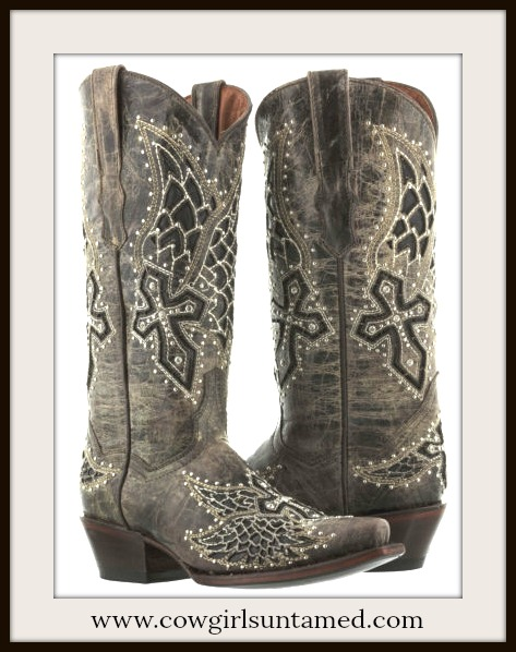 RODEO REBEL BOOTS Brown Silver & Rhinestone Studded Underlay Cross Distressed Cowgirl Boots