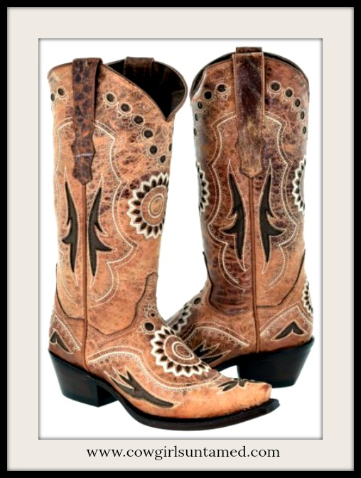 BOHEMIAN COWGIRL BOOTS Cognac Brown Inlay & Tan Embroidery Genuine Leather Boots