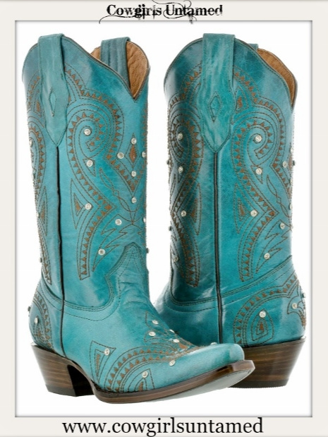 COWGIRL STYLE BOOTS Turquoise Leather with Brown Embroidery & Rhinestone Studded Western Boot