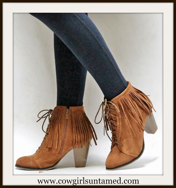 COWGIRL STYLE BOOTS Lace Up Front Brown Suede Fringe Ankle Boots