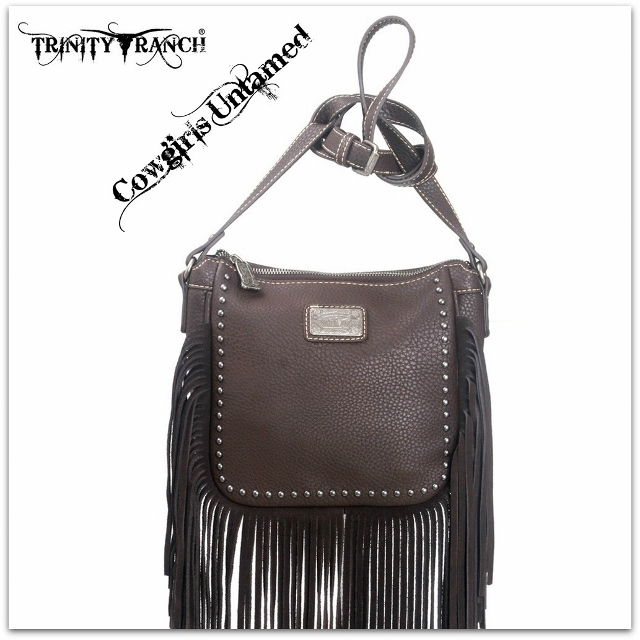 MONTANA WEST HANDBAG Silver Studded Brown GENUINE LEATHER Fringe Messenger Bag