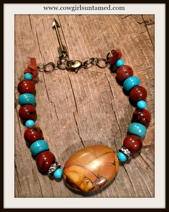 GYPSY SOUL BRACELET Brown Jasper & Turquoise Rhinestone Antique Bronze Arrow Charm Boho Bracelet