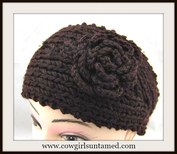 COWGIRL GYPSY HEADBAND Brown Knit Flower Headband Head Wrap