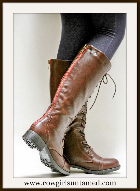 COWGIRL STYLE BOOTS Brown Lace Up Front Zipper Back Leather Riding Boots