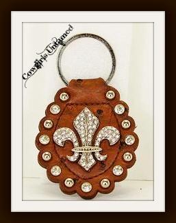 COWGIRL STYLE KEYCHAIN Silver Rhinestone Fleur De Lis and Rhinestone Studded GENUINE Brown Leather Keychain