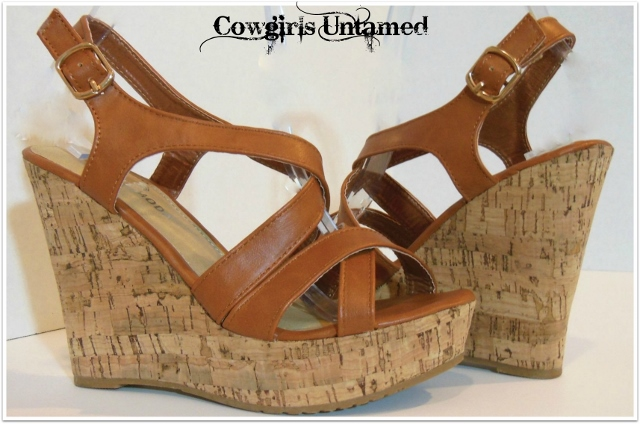 COWGIRL GYPSY SHOES Brown Leather Wedge Cork High Heel Strappy Platform Sandals