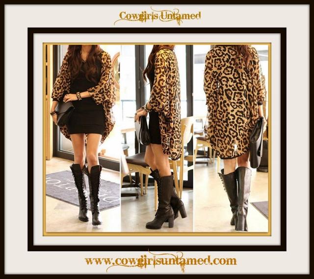 COWGIRL GYPSY JACKET Leopard Chiffon Open Kimono Jacket Cardigan