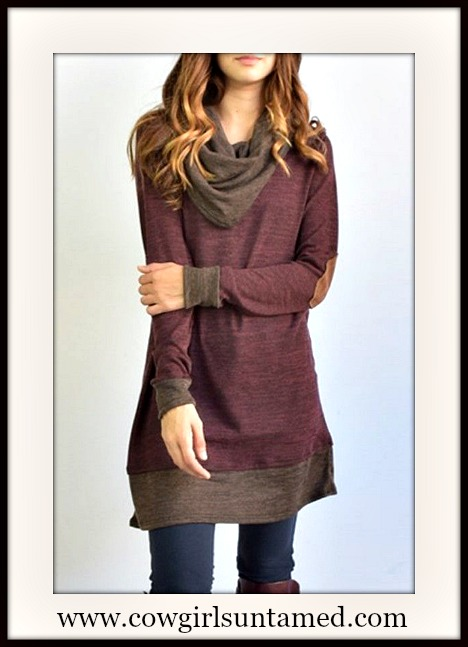 WILDFLOWER TOP Brown Trim & Elbow Patch on Soft Cotton Burgundy Tunic / Mini Dress / Tunic Top